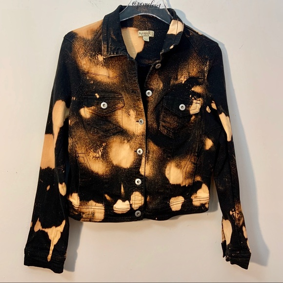 ONE WORLD Jackets & Blazers - Dipped Tye Dye One World Black Denim Jean Jacket